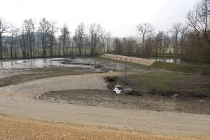 Blick vom Damm ins Becken mit geschütztem Fischteich